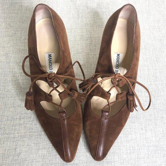 Manolo Blahnik Ragusta Brown Suede Shoes 6.5